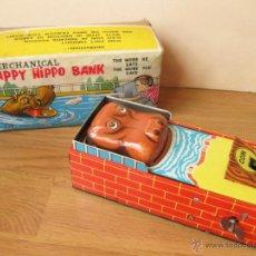 Juguetes antiguos de hojalata: HAPPY HIPPO BANK - HUCHA MECANICA DE CHAPA YONE. Lote 42531860