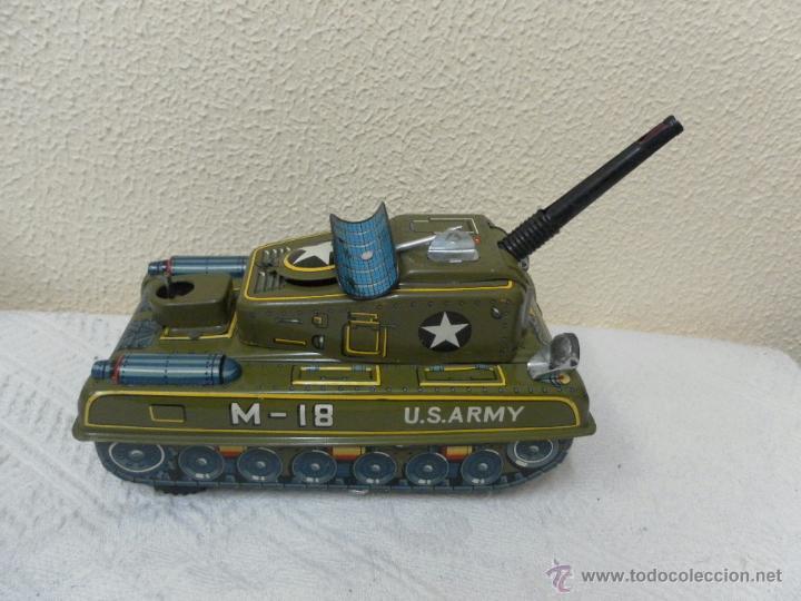 Juguetes antiguos de hojalata: Japan. Tanque. Space Patrol Tank. U.S. Army M-18. Juguete fabricado en Japón. - Foto 2 - 42853986