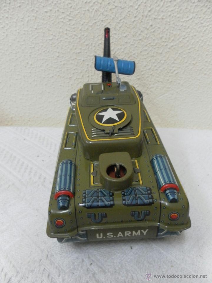Juguetes antiguos de hojalata: Japan. Tanque. Space Patrol Tank. U.S. Army M-18. Juguete fabricado en Japón. - Foto 4 - 42853986