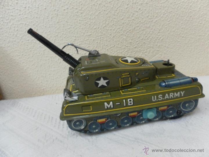 Juguetes antiguos de hojalata: Japan. Tanque. Space Patrol Tank. U.S. Army M-18. Juguete fabricado en Japón. - Foto 6 - 42853986