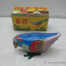 Juguetes antiguos de hojalata: PÁJARO O PAJARITO DE HOJALATA CON MECANISMO A CUERDA FABRICADO EN CHINA. Lote 43728023