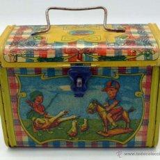 Juguetes antiguos de hojalata: CABAS INFANTIL HOJALATA LITOGRAFIADA RICO AÑOS 30 - 40 NIÑOS JUGANDO. Lote 44173249