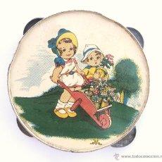 Juguetes antiguos de hojalata: PANDERETA DE HOJALATA LITOGRAFIADA AÑOS 30 - 40. Lote 44770822