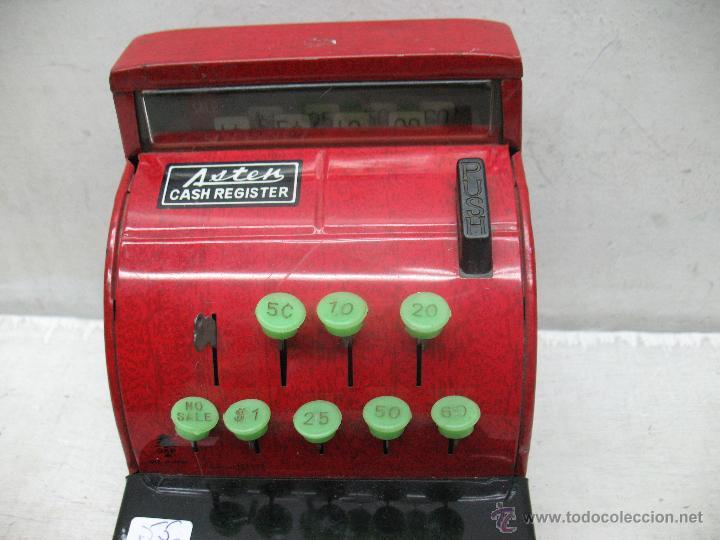 Juguetes antiguos de hojalata: Aster - Caja registradora fabricada en Japón - Foto 2 - 44877983