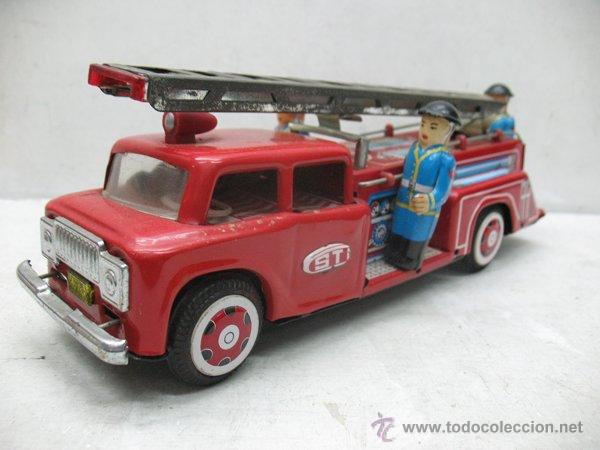 Juguetes antiguos de hojalata: Fire Truck - Antiguo camión de bomberos fabricado en China - Foto 2 - 44893560