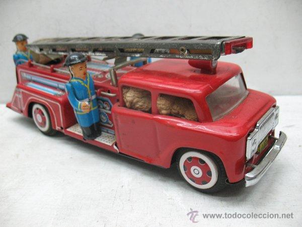 Juguetes antiguos de hojalata: Fire Truck - Antiguo camión de bomberos fabricado en China - Foto 4 - 44893560