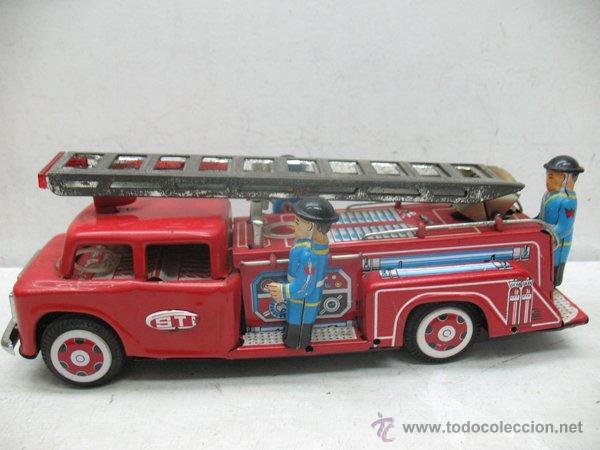 Juguetes antiguos de hojalata: Fire Truck - Antiguo camión de bomberos fabricado en China - Foto 7 - 44893560