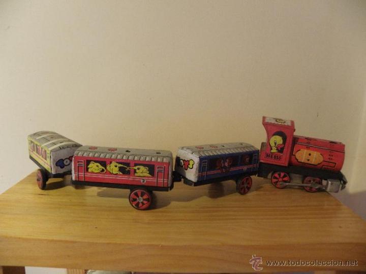 Juguetes antiguos de hojalata: Tren de hojalata con 3 vagones - Foto 2 - 45210992