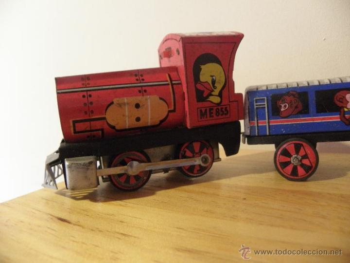 Juguetes antiguos de hojalata: Tren de hojalata con 3 vagones - Foto 4 - 45210992