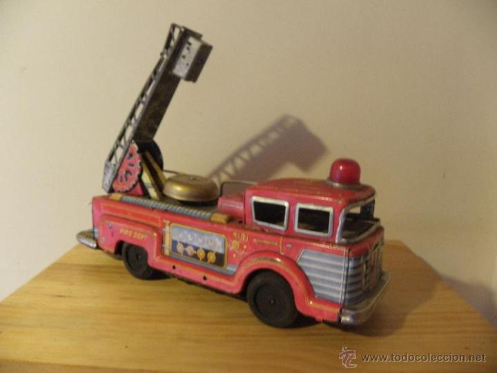 Juguetes antiguos de hojalata: Camión de Bomberos con timbre de hojalata - Made in Japan - Foto 4 - 45211407