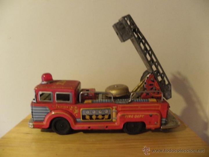 Juguetes antiguos de hojalata: Camión de Bomberos con timbre de hojalata - Made in Japan - Foto 5 - 45211407