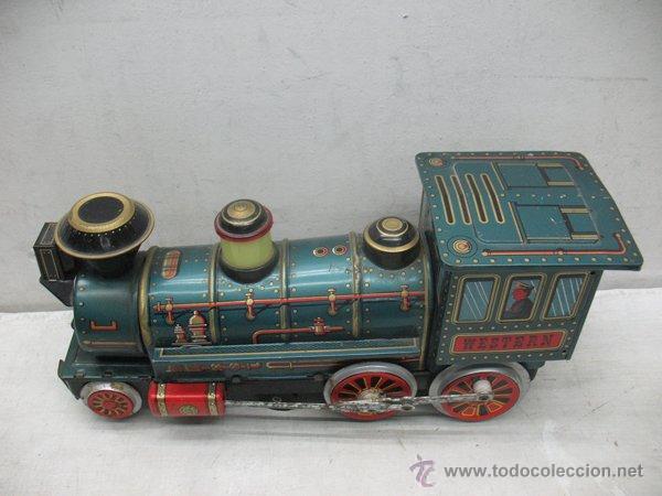 Juguetes antiguos de hojalata: Modern Toys - Locomotora de vapor japonesa de chapa con mecanismo a pilas - Foto 3 - 45465209