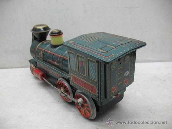 Juguetes antiguos de hojalata: Modern Toys - Locomotora de vapor japonesa de chapa con mecanismo a pilas - Foto 5 - 45465209