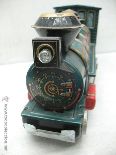 Juguetes antiguos de hojalata: Modern Toys - Locomotora de vapor japonesa de chapa con mecanismo a pilas - Foto 7 - 45465209
