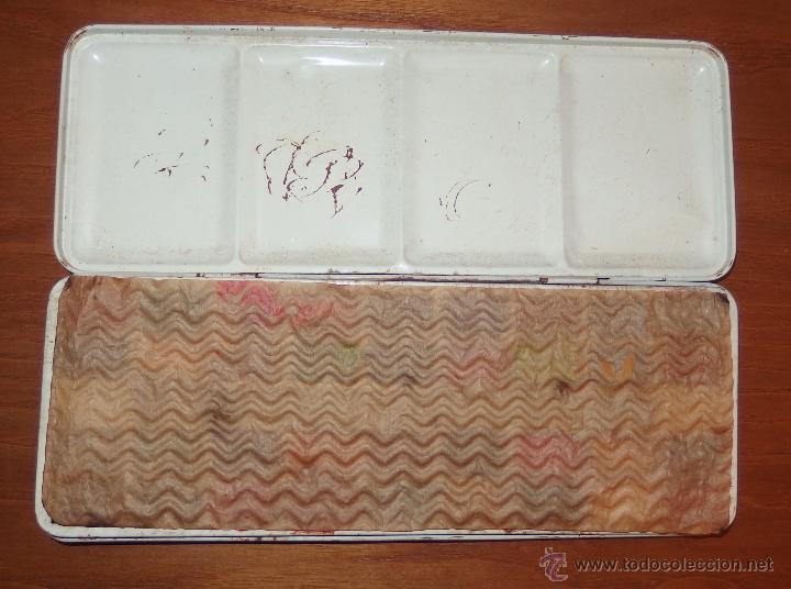 Juguetes antiguos de hojalata: CAJA DE ACUARELAS DE HOJALATA,AÑOS 50 Ó 60,PAGE LONDON - Foto 2 - 23600188
