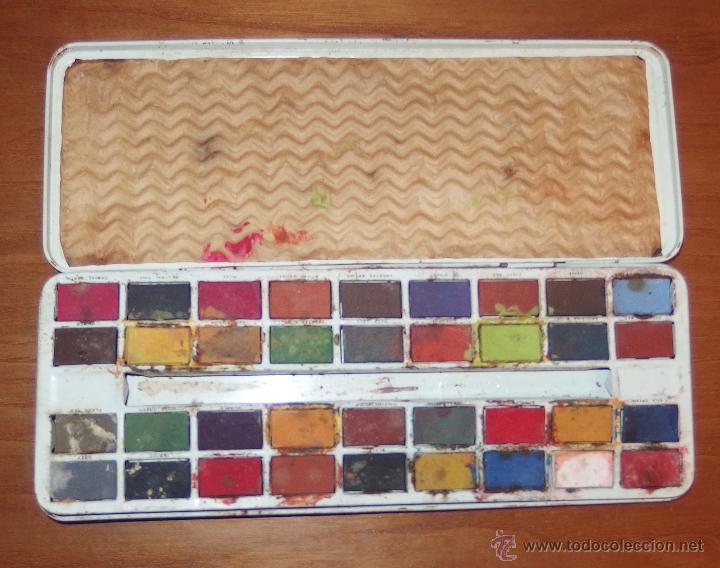 Juguetes antiguos de hojalata: CAJA DE ACUARELAS DE HOJALATA,AÑOS 50 Ó 60,PAGE LONDON - Foto 3 - 23600188