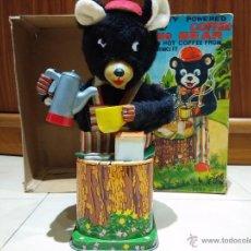 Juguetes antiguos de hojalata - Vintage ROSKO TN Nomura Coffee Loving Bear Japones Lata Hojalata Tin Battery Toy a Pilas Automata - 46468976
