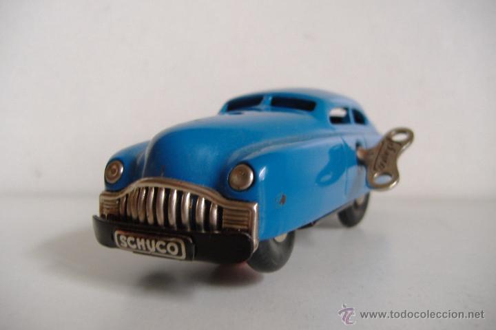 ANTIGUO COCHE SCHUCO SCHUCCO HOJA LATA A CUERDA CON SU LLAVE TAMBIEN ORIGINAL, CA.1950. EXCELENTE (Juguetes - Juguetes Antiguos de Hojalata Extranjeros)