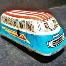 Juguetes antiguos de hojalata - Antiguo autobús a cuerda de hojalata litografiada. Funciona correctamente. - 47441658