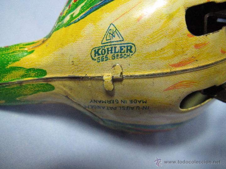 Juguetes antiguos de hojalata: Cria de Pájaro en Hojalata Litografiada y Mecanismo a Cuerda de KOHLER GESCH Made in Germany - 1950s - Foto 7 - 47945355