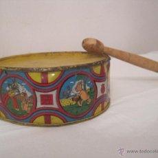 Juguetes antiguos de hojalata: TAMBOR DE JUGUETE DE HOJA DE LATA. Lote 48505301