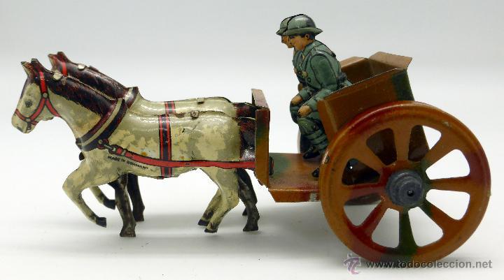 Juguetes antiguos de hojalata: Carro cañón tiro caballos conducido por dos soldados hojalata litografiada Made in Germany años 30 - Foto 5 - 48611300