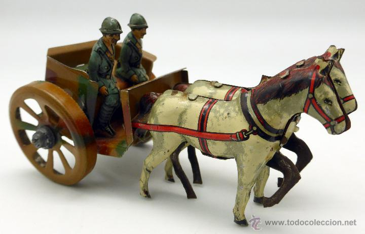 Juguetes antiguos de hojalata: Carro cañón tiro caballos conducido por dos soldados hojalata litografiada Made in Germany años 30 - Foto 7 - 48611300