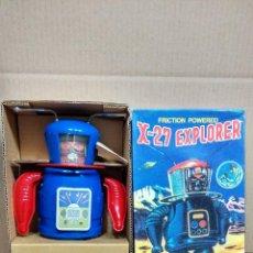 Juguetes antiguos de hojalata: ROBOT X-27 EXPLORER A ESTRENAR Y FUNCIONANDO A CUERDA. Lote 48801669