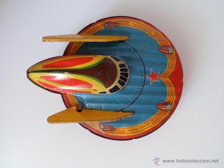 Juguetes antiguos de hojalata: Nave espacial W 902 Terre Mars SFA París de hojalata chapa Años 50 Alfredocolección - Foto 4 - 49734383