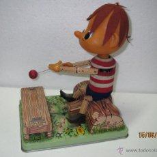 Juguetes antiguos de hojalata: ANTIGUO PINOCHO AUTÓMATA EN HOJALATA LITOGRAFIADA - FABRICADO EN JAPÓN POR ROSKO TESTED - AÑO 1960S.. Lote 49902448
