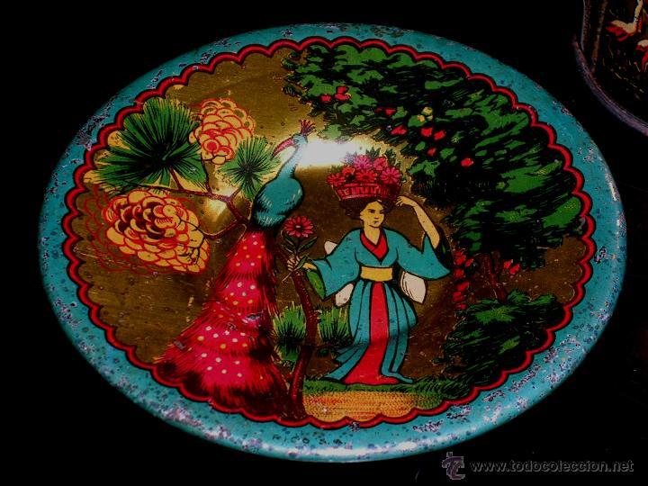 Juguetes antiguos de hojalata: Juego de café o té con motivos orientales, fabricado en hojalata litografiada, Rico S.A. Años 30. - Foto 2 - 50007044
