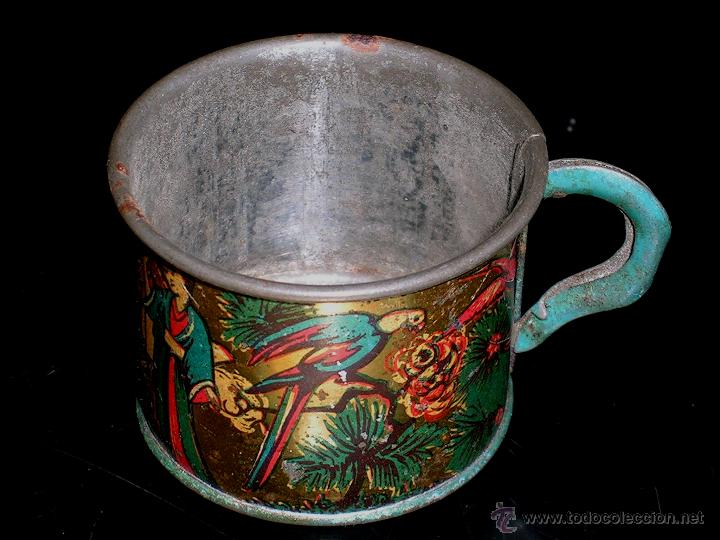 Juguetes antiguos de hojalata: Juego de café o té con motivos orientales, fabricado en hojalata litografiada, Rico S.A. Años 30. - Foto 4 - 50007044