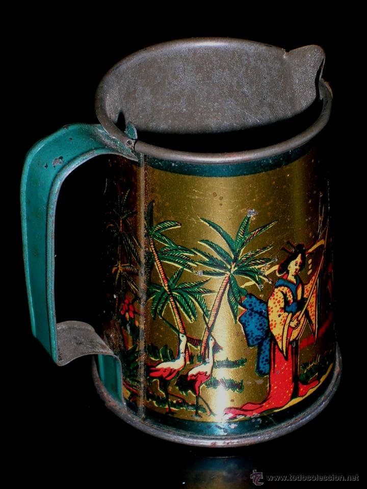 Juguetes antiguos de hojalata: Juego de café o té con motivos orientales, fabricado en hojalata litografiada, Rico S.A. Años 30. - Foto 5 - 50007044