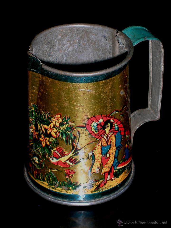 Juguetes antiguos de hojalata: Juego de café o té con motivos orientales, fabricado en hojalata litografiada, Rico S.A. Años 30. - Foto 6 - 50007044