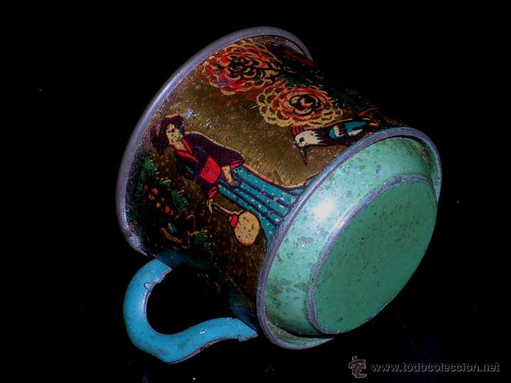 Juguetes antiguos de hojalata: Juego de café o té con motivos orientales, fabricado en hojalata litografiada, Rico S.A. Años 30. - Foto 7 - 50007044