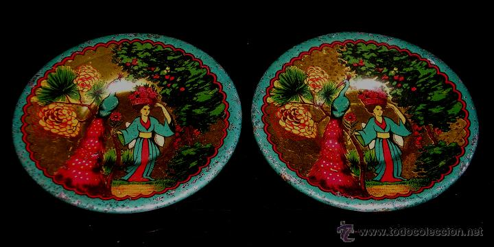 Juguetes antiguos de hojalata: Juego de café o té con motivos orientales, fabricado en hojalata litografiada, Rico S.A. Años 30. - Foto 8 - 50007044