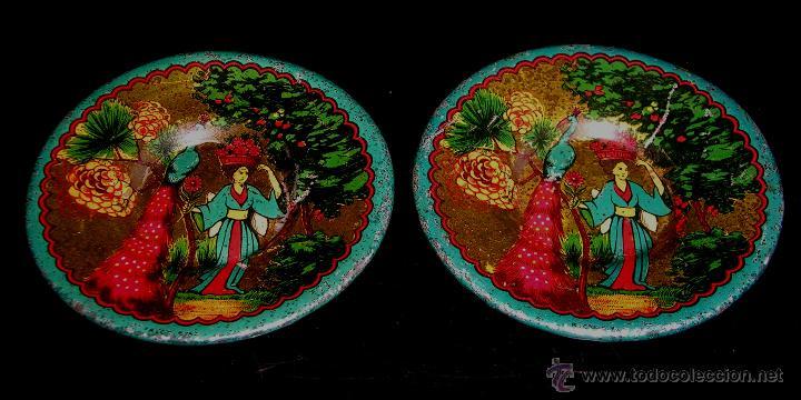Juguetes antiguos de hojalata: Juego de café o té con motivos orientales, fabricado en hojalata litografiada, Rico S.A. Años 30. - Foto 10 - 50007044