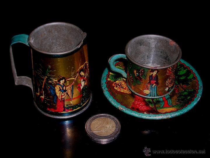 Juguetes antiguos de hojalata: Juego de café o té con motivos orientales, fabricado en hojalata litografiada, Rico S.A. Años 30. - Foto 13 - 50007044