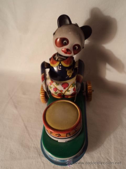 Juguetes antiguos de hojalata: JUGUETE DE HOJA DE LATA LITOGRAFIADA A CUERDA OSO TAMBOR - Foto 2 - 52299977