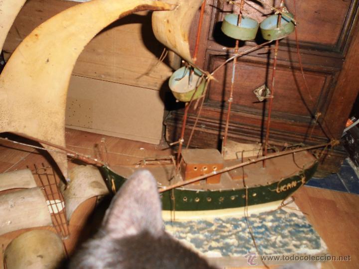 Juguetes antiguos de hojalata: antiguo barco GRANDE alicante de chapa hojalata Y MADERA Juguete antiguo por restaurar - Foto 3 - 52741543