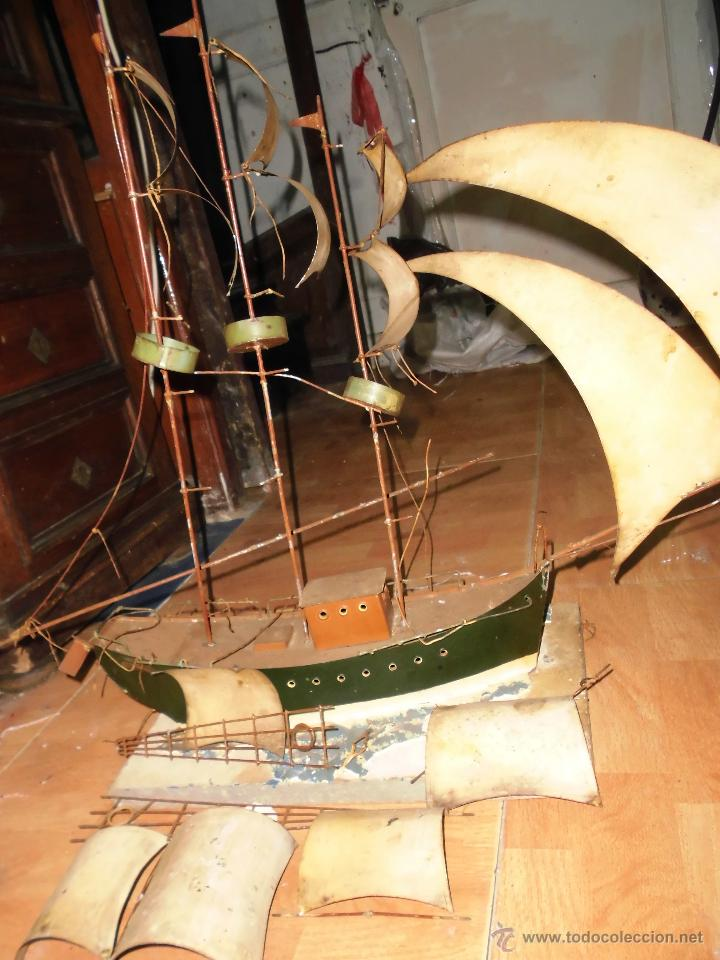 Juguetes antiguos de hojalata: antiguo barco GRANDE alicante de chapa hojalata Y MADERA Juguete antiguo por restaurar - Foto 4 - 52741543