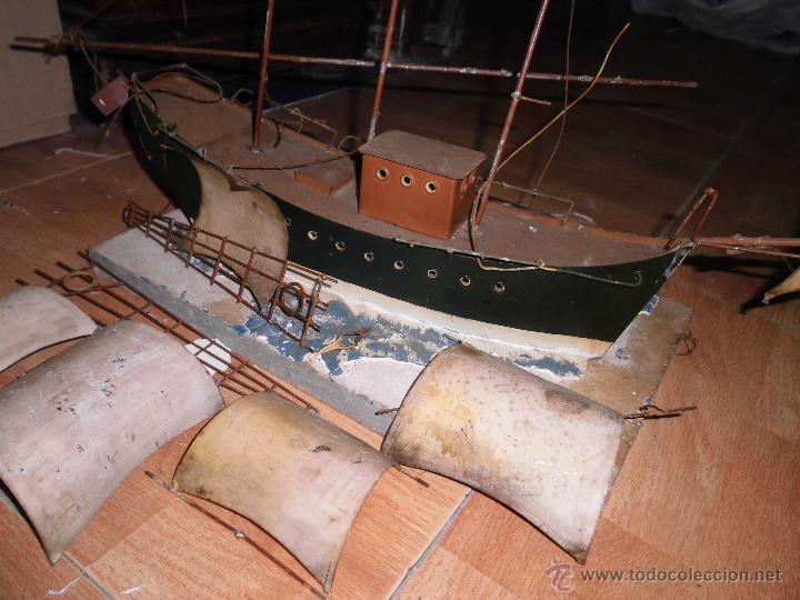Juguetes antiguos de hojalata: antiguo barco GRANDE alicante de chapa hojalata Y MADERA Juguete antiguo por restaurar - Foto 5 - 52741543