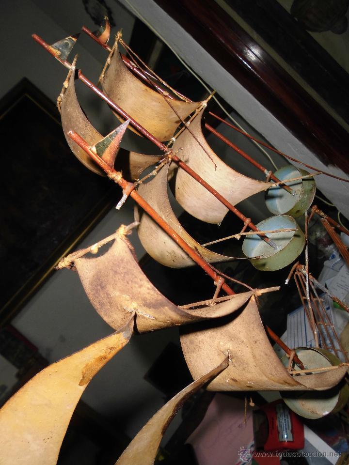 Juguetes antiguos de hojalata: antiguo barco GRANDE alicante de chapa hojalata Y MADERA Juguete antiguo por restaurar - Foto 8 - 52741543