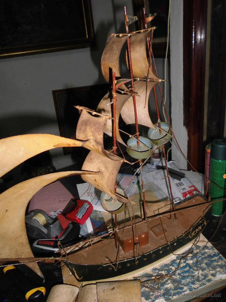 Juguetes antiguos de hojalata: antiguo barco GRANDE alicante de chapa hojalata Y MADERA Juguete antiguo por restaurar - Foto 9 - 52741543