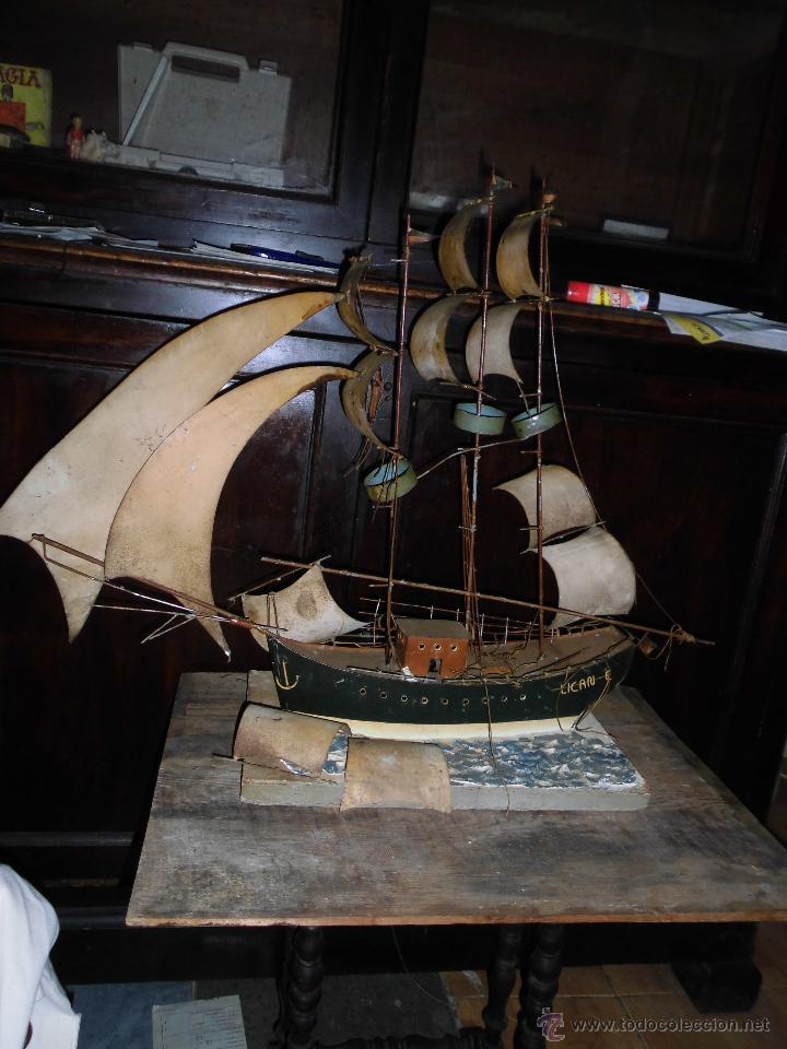 Juguetes antiguos de hojalata: antiguo barco GRANDE alicante de chapa hojalata Y MADERA Juguete antiguo por restaurar - Foto 10 - 52741543