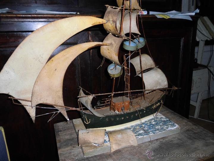 Juguetes antiguos de hojalata: antiguo barco GRANDE alicante de chapa hojalata Y MADERA Juguete antiguo por restaurar - Foto 11 - 52741543