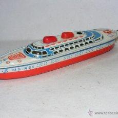 Juguetes antiguos de hojalata - BARCO HOJALATA LITOGRAFIADA Crucero MECANISMO DE CUERDA DEL HSS REX JUGUETE 125,00 € - 52834007