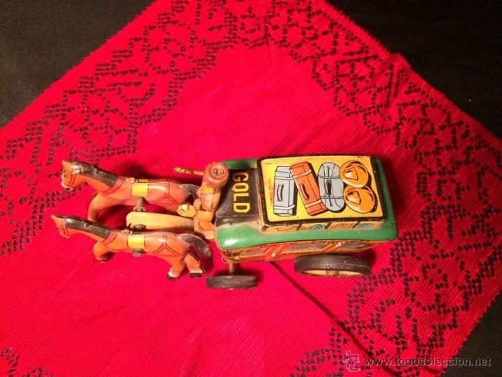 Juguetes antiguos de hojalata: DILIGENCIA CARRUAJE CABALLOS Davy Crockett David Stern CAÑOS 30 HOJALATA LITOGRAFIADA 296,00 € - Foto 2 - 52940220