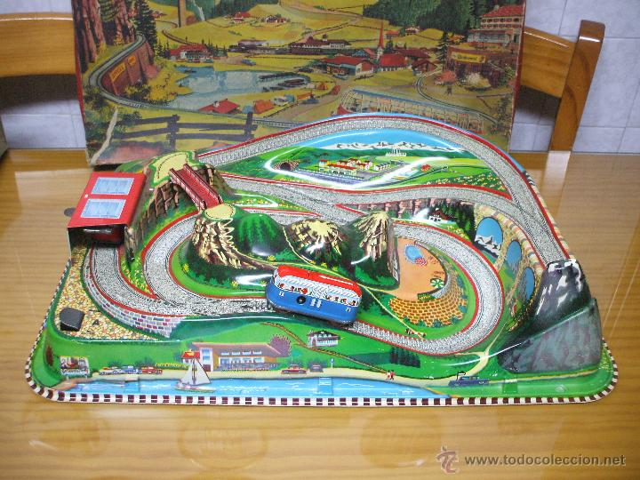 Juguetes antiguos de hojalata: MARKE TECHNOFIX 312 ROCKY MOUNTAINS TRAIN, CIRCUITO DE HOJALATA JUGUETE ALEMAN AÑOS 60 * MUY RARO * - Foto 2 - 53088094