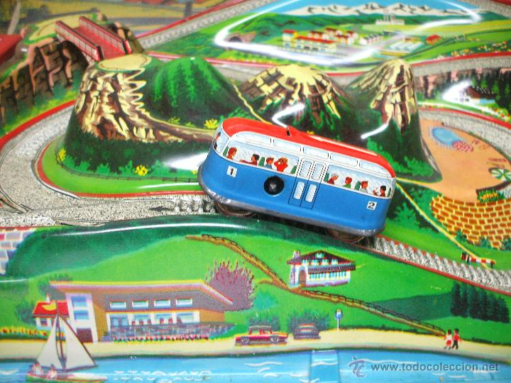 Juguetes antiguos de hojalata: MARKE TECHNOFIX 312 ROCKY MOUNTAINS TRAIN, CIRCUITO DE HOJALATA JUGUETE ALEMAN AÑOS 60 * MUY RARO * - Foto 4 - 53088094